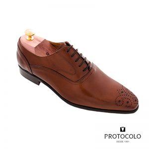 protocolo novios zapatos piel caoba hombre